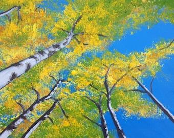 Aspen Tree Painting, Blue & Yellow, Original Art, Acrylic on Canvas, 14x11, Medium Wall Decor, Forest from Below