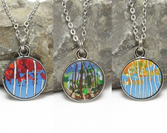 Mini Forest Pendant Necklace, Blue Multi, Landscape Scene, Polymer Clay Cane, Art Jewelry, Unique Women's Gift, Fall Trees, Red Yellow Green