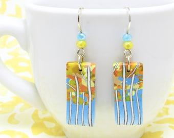 Birch Tree Earrings, Yellow Blue Multi, Landscape Scene, Polymer Clay Cane, Nature Inspired, Art Jewelry, Dangle Earrings, Unique Women Gift