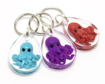 Resin Octopus Keychain, Aqua Purple Red, Sea Life Key Fob, Ocean Inspired, Polymer Clay, Aquarium Keychain, Nautical Gift, Unique Teen Gift