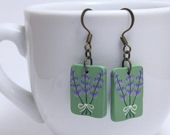 Lavender Flower Bouquet Dangle Earrings, Purple & Green, Polymer Clay Cane, Floral Nature Jewelry, Unique Womens Gift