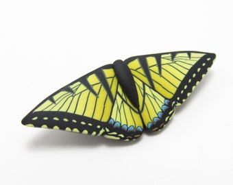 Yellow Butterfly Brooch, Eastern Tiger Swallowtail Pin, Polymer Clay, Realistic Art Jewelry, Nature Inspired, Unique Womens Gift