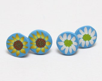 Flower Stud Earrings, Daisy Earrings, Sunflower Studs, Floral Jewelry, Blue Yellow White, Polymer Clay Cane, Summer Jewelry, Womens Gift
