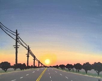 Street Sunset Painting, Blue Orange, Colorful Cityscape, Silhouette Landscape, Original Art, Acrylic on Canvas, 10x8, Small Wall Decor