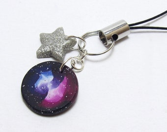 Galaxy Planner Charm, Pink Blue Glitter, Space Bag Charm, Star Notebook Charm, Polymer Clay Cane, Handmade Planner Accessory