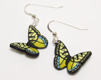 Butterfly Dangle Earrings, Yellow Swallowtail, Orange Monarch, Blue Morpho, Polymer Clay Cane, Realistic Nature Jewelry, Unique Women Gift