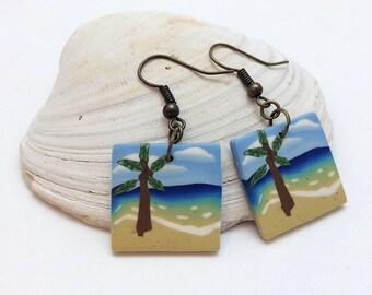 Beach Dangle Earrings, Palm Tree Scene, Ocean Landscape, Blue Green Tan, Polymer Clay Cane, Summer Jewelry, Unique Women's Gift