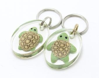Sale Resin Turtle Keychain, Sea Turtle Keyring, Animal Key Fob, Ocean Inspired, Green & Brown, Polymer Clay, Clear Oval Keychain, Teen Gift