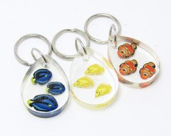 Fish Keychain, Sea Life Key Fob, Clownfish Blue Tang Angelfish, Aquarium Fish, Clear Resin, Polymer Clay, Blue Orange Yellow