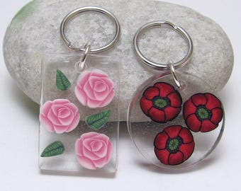 Resin Flower Keychain, Poppy Keyring, Rose Key Fob, Red or Pink, Polymer Clay Cane, Round or Rectangle, Nature Inspired, Womens Gift