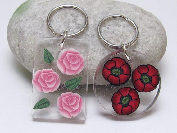 Resin Flower Keychain Poppy Keyring Rose Key Fob Red or  ab73047a55