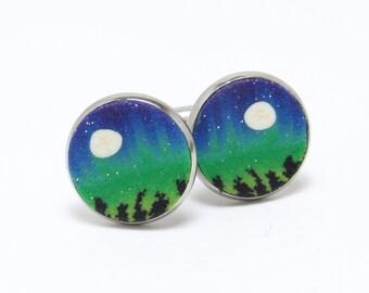 Northern Lights Cufflinks, Aurora Borealis Cuff Links, Green Purple, Polymer Clay Cane, Suit Accessory, Men's Jewelry, Boyfriend Gift