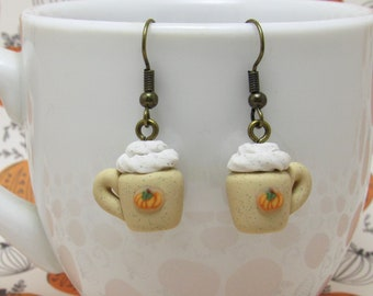 Pumpkin Spice Latte Dangle Earrings, Coffee Cup Earrings, Fall Jewelry, Polymer Clay, Hand Sculpted, Mini Food Jewelry, Autumn Gift
