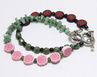 Floral Beaded Bracelet, Rose or Poppy Bracelet, Pink Green Red, Polymer Clay Cane, Glass Beads, Gemstone Chips, Unique Womens Gift