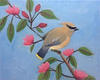 Blue Bird Painting, Cedar Waxwing, Floral Nature Art, Bird on a Branch, Original Art, Acrylic on Canvas, 10x8, Small Wall Decor, Birder Gift