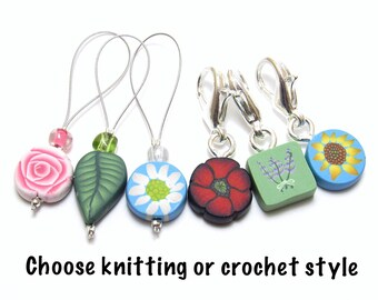 Floral Stitch Markers, Flower Progress Keepers, Assorted Designs, Set of 6, Multi Colored, Polymer Clay Cane, Knitter Gift, Crocheter Gift
