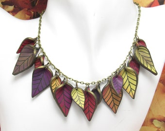 Fall Leaf Statement Necklace, Bronze Multi Color, Polymer Clay, Nature Jewelry, Autumn Leaves, Unique Gift, Red Orange Yellow Purple