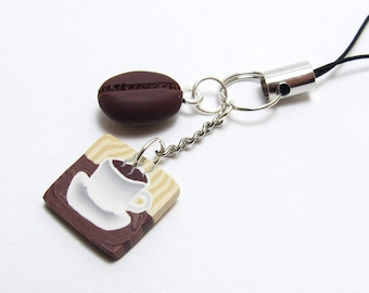Coffee Cup Charm, Planner Charm, Cafe Scene, Bag Charm, Notebook Charm, Brown & White, Polymer Clay Cane, Handmade Planner Accessory