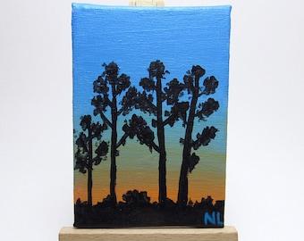 Sunrise Mini Painting, Tree Silhouettes, Blue & Orange, Original Art, Acrylic Canvas, Landscape Scene, Bookshelf Decor, Housewarming Gift