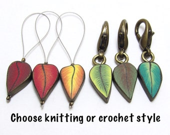 Leaf Stitch Markers, Fall Progress Keepers, Set of Six, Multi Colored, Nature Themed, Polymer Clay Cane, Handmade Supply, Knit Crochet Gift