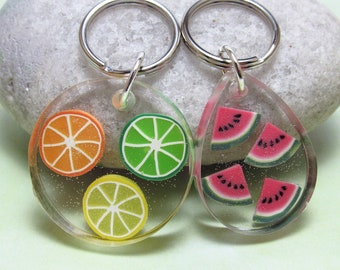 Fruit Slice Keychain, Watermelon Key Ring, Citrus Key Fob, Multi Color, Resin Accessory, Polymer Clay Cane, Round Oval Keychain, Womens Gift