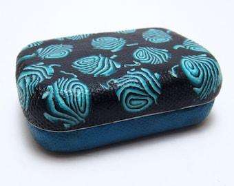 Yarn Ball Stitch Marker Case, Black Teal, Polymer Clay Cane, Repurposed Mint Tin, Craft Supply Storage, Cute Organizer, Unique Knitter Gift