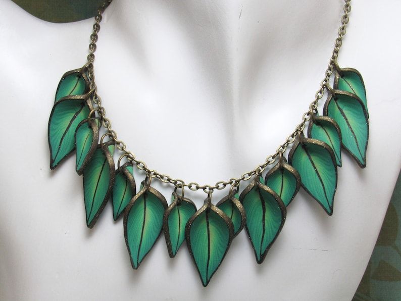 Green Leaf Statement Necklace Jade & Lime Polymer Clay Cane image 0