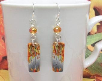 Birch Tree Earrings, Landscape Scene, Polymer Clay Cane, Orange Gray Multi, Nature Inspired, Art Jewelry, Dangle Earrings, Unique Women Gift