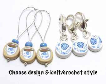 Porcelain Stitch Marker Set, Teacup Progress Keepers, Blue Floral China, Polymer Clay Cane, Handmade Supplies, Knitter Gift, Crocheter Gift