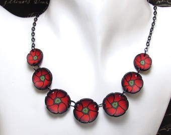 Poppy Statement Necklace, Red & Black Bib, Polymer Clay Cane, Flower Jewelry, Nature Inspired, Unique Women's Gift, Valentine's Day Gift