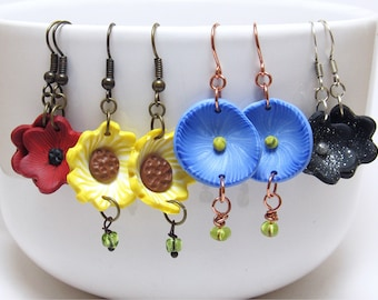 Floral Dangle Earrings, Yellow Sunflower, Red Poppy, Blue Morning Glory, Black Galaxy Flower, Polymer Clay Cane, Unique Womens Gift