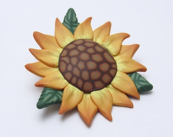 Sunflower Brooch Pin, Yellow Brown Green, Polymer Clay Cane, Lapel Flower, Floral Accessory, Summer Jewelry, Unique Womens Gift
