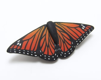 Monarch Butterfly Brooch, Orange & Black Pin, Polymer Clay, Realistic Art Jewelry, Nature Inspired, Unique Womens Gift