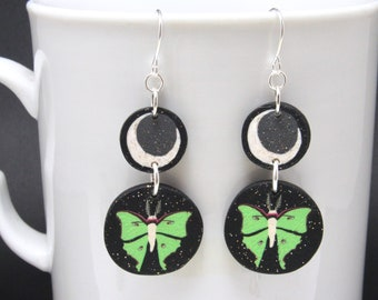 Moon Moth Earrings, Double Dangles, Luna Moth & Crescent Moon, Green Black Glitter, Polymer Clay Cane, Celestial Nature Jewelry, Womens Gift
