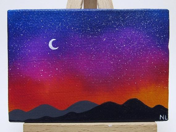 Sternenhimmel Berg Sonnenuntergang Miniaturmalerei Mini Etsy