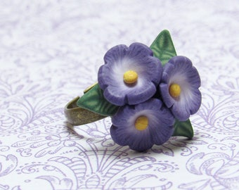 Purple Flower Ring, Violet Cluster Ring, Floral Cocktail Ring, Nature Jewelry, Polymer Clay Cane, Unique Womens Gift