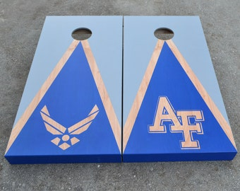Air Force Cornhole Boards Custom Stained Full Size Corn hole Boards with Bags /Lawn Games /Corn Toss /Wedding /Non Painted /Personalized