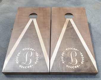 Monogram Full Size Stained Cornhole Boards w/bags/ Baggo /Lawn Games / Corn Toss / Wedding /Non Painted /Personalized /Logo /corn hole board