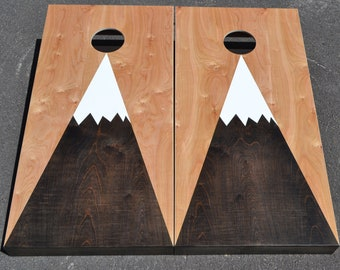 Mountain Cornhole Boards Custom Stained Full Size Corn hole Boards with Bags /Lawn Games /Corn Toss /Wedding /Non Painted /Personalized logo