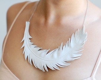 Leather Feather Necklace, Ivory White Feather Jewelry , Swan Statement Necklace