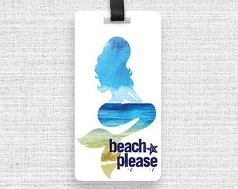 Luggage Tag Beach Please Watercolor Mermaid With Custom Info On Back , Single Tag