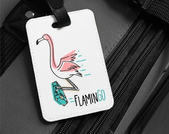 a1299ebd5d6c Luggage Tag - FlaminGo Flying Flamingo Personalized Faux Leather Travel Bag  Tag