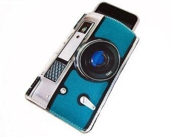 Retro Camera Black and Teal Gadget Case -Fits iPhone iTouch and more