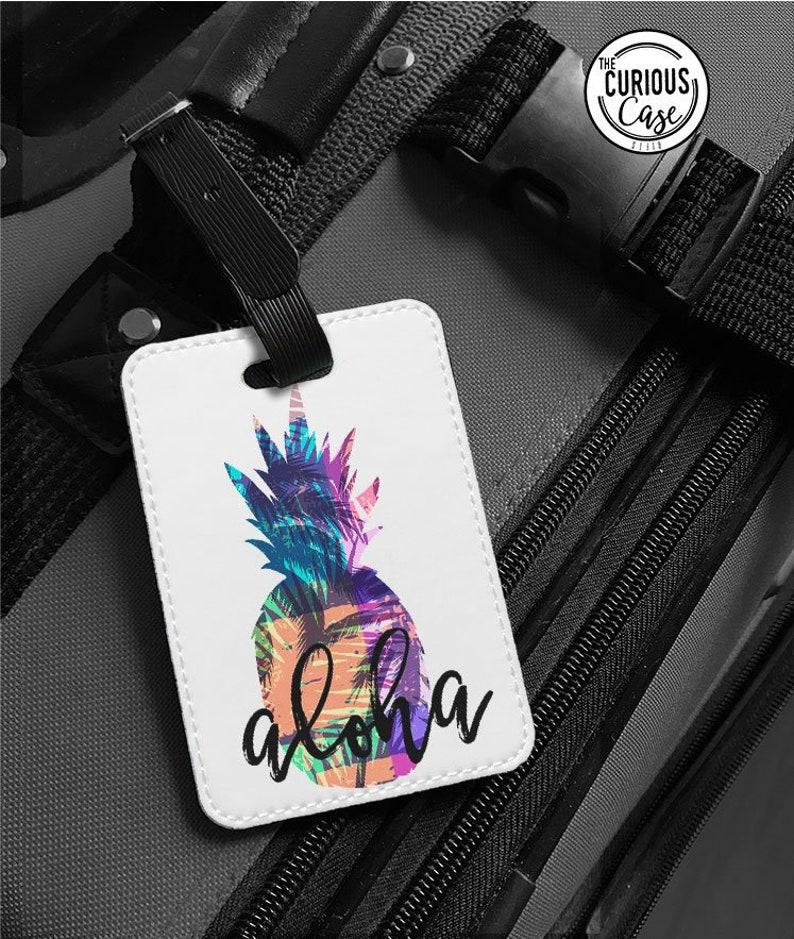 d1fd4e0344f22 Luggage Tag Aloha Pineapple Hawaii Faux Leather Travel Bag
