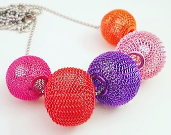 Adriana Colourful Mesh  Necklace