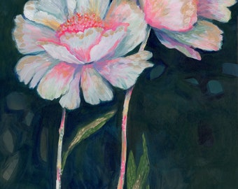 Flowers In The Dark PRINT - floral, moody art, white flowers, colorful, chic, sophisticated art