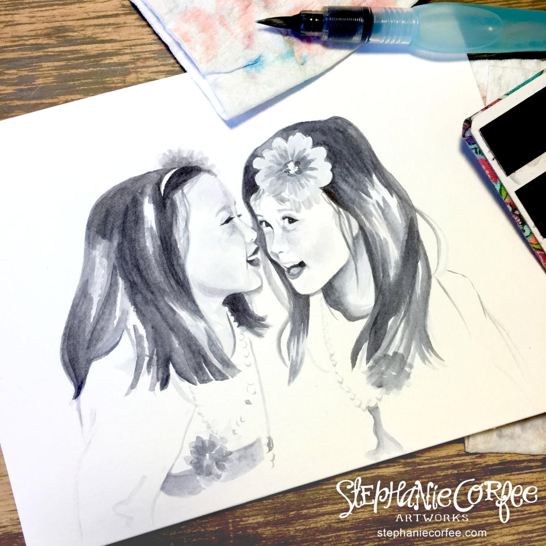 Mini Aquarell Sketch-Portraits Kinder Porträt Baby | Etsy