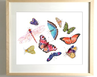 Butterfly Scatter No. 2 - PRINT  watercolor painting, paper print, colorful print, cheerful print, moth, butterfly, wings