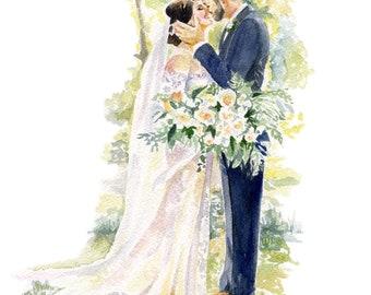 Watercolor Wedding Portrait - couples portrait,  bridal Portrait, B&W Portrait, Keepsake Portrait, Portrait Painting