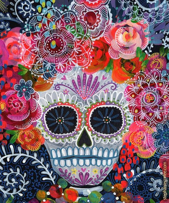Day Of The Dead Sugar Skull PRINT Skull Print Dia De Los Etsy